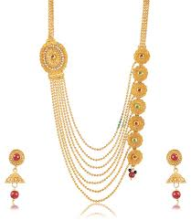 women necklace set images Womens necklace gold plated multi strand necklace set for women jpg