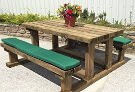 picnic table seat cushions pack of two picnic bench seat cushions natural 180cm amazon co