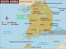 Korea On Map Map Of South Korea Stock Illustration Getty Images