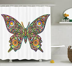 butterflies decoration shower curtain set by ambesonne butterfly