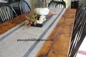 decorating custom burlap table runner with sharp shape tag end