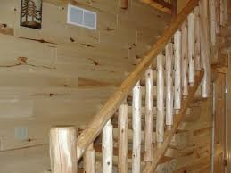 Knotty Pine Flooring Laminate Cedar Railing And Pine Log Stairway Stairs Pinterest