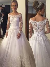 lace top wedding dress buy dramatic shoulder sleeves floor length wedding dress