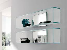 new curved glass wall shelves 76 with additional metal shelves for