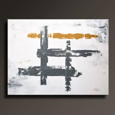 large abstract painting white gray gold painting original