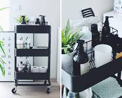 rolling cart for storage works well in small bathrooms ikea