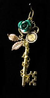 rose key necklace images Winter rose key necklace gold w green rose brightstargifts jpg