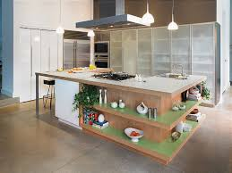 kitchen island with open shelves island with open shelves black bar stools white pendant lights