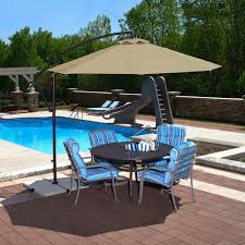4 Foot Patio Umbrella Hton Bay 11 Ft Led Offset Patio Umbrella In Sunbrella Sand