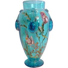 Bohemian Vase Bohemian Moser Blue Art Glass Vase Enameled Butterflies Flowers C