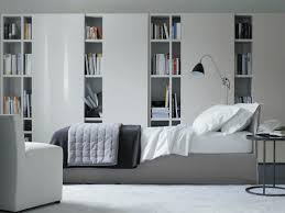 library bedroom design ideas using wall bookshelf in unique design