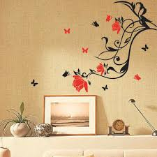 red flower black vine butterfly wall sticker art home decor red flower black vine butterfly wall sticker art home decor removable wall paster house decorative wall paster flower butterfly wall sticker flower vine