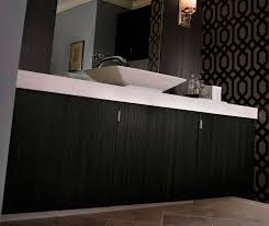 contemporary bathroom vanity in thermofoil kitchen craft cabinetry