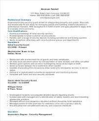 Hotel Security Job Description Resume by Security Guard Resumes 10 Free Word Pdf Format Download Free