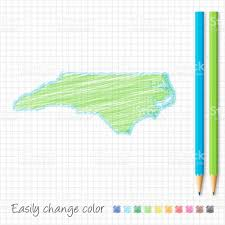North Carolina Map North Carolina Map Sketch With Color Pencils On Grid Paper Stock
