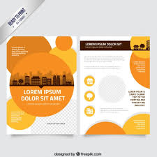 circle brochure template flyer template with orange circles vector