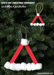 santa hat ornament using craft sticks