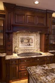 dazzling kitchen stone backsplash dark cabinets traditional