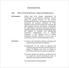 9 social worker job description templates u2013 free sample example