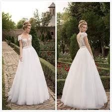 simple garden wedding dresses with cap sleeves lace floor length
