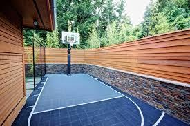 Backyard Basketball Half Court Outdoor Basketball Hoop Landscape Contemporary With Basket Ball