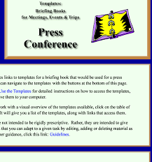 Press Conference Template templates for a briefing book prepared for a press conference