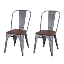 adeco tolix style matte silver grey metal dining bistro chair
