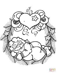 christmas wreath with santa coloring page free printable