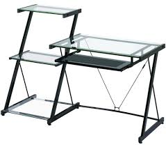 idabel dark brown wood modern desk with glass top glass computer desk home decor pinterest desks and glass