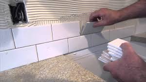 Kitchen No Backsplash by How To Install A Simple Subway Tile Kitchen Backsplash Youtube