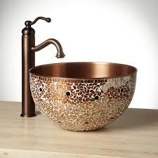 valencia mosaic copper vessel sink ideas bathroom vessel sinks