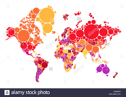 World Maps With Countries by Political Abstract Dot World Map With Countries Vector