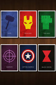 Six Selves - set of six avengers character art prints posters inspired by the