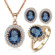 blue sapphire necklace sets images Women 39 s elegant cz diamond jewelry 18k rose gold pated blue jpg