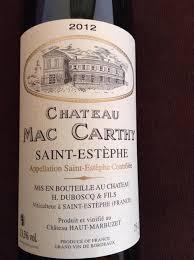 learn about st estephe bordeaux 2012 château mac carthy bordeaux médoc st estèphe