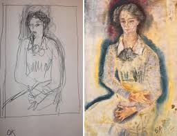 kokoschka in pencil and paint by the experiment station the