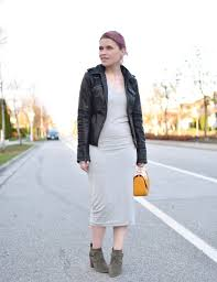 moto style boots sun days styling a midi length t shirt dress with a moto jacket