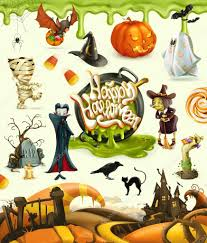 halloween 3d vector illustrations pumpkin ghost spider witch