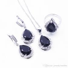 black drop earrings 2018 black sapphire white topaz jewelry sets 925 sterling silver