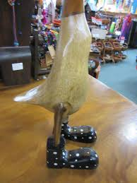 funky stuff hand carved bamboo root duck in boots 40 cm tall