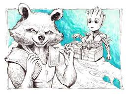baby groot and rocket fanart by pykodelbi dribbble