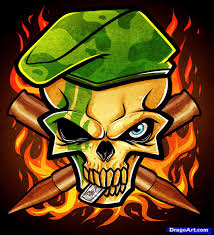 how to draw an army skull army tattoo step by step skulls pop