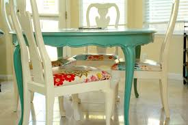 How To Paint Old Furniture by White Chalk Painted Dining Room Table Monogrammed Chairs 11