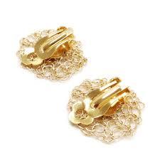 earrings clip on clip on flower earrings wire crochet flower earrings gold