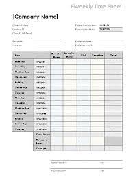 Bi Weekly Timesheet Template Excel Free Excel Timesheet Templates