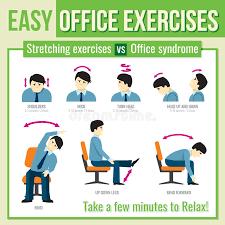 exercice au bureau exercices de bureau avec le caractère d homme d affaires vecteur