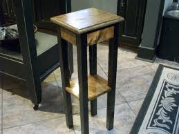 Bedroom Side Tables by Black Stained Wooden Legs Bed Side Table With Square Marble Table