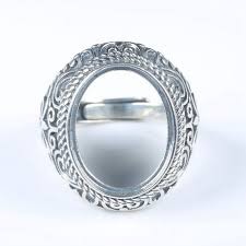 art nouveau 925 sterling silver engagement wedding men ring