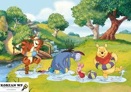 disney pooh bear friends mural baby nursery room