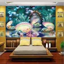 online get cheap kids wallpaper girls aliexpress com alibaba group custom size 3d photo wallpaper kids girl room mural dream seabed mermaid oil painting sofa tv background non woven wall sticker